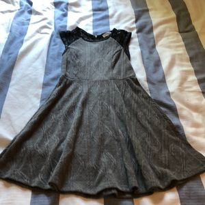 Monteau Size S grey sweater and lace dress